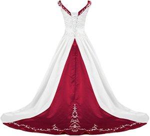 APXPF Femme col V Robe de mariée de Broderie de Satin pour Le Train Chapelle de mariée 12 Blanc et Bourgogne