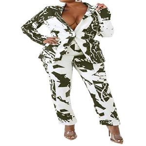 Bureau Lady Blazer 2 Pièces Femmes Hiver Salopette Manches Pleines Graffiti Trail Blazer Pantalon Ensemble Élégant Pantalon Ensemble – Vert – XL