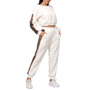 Ensemble de costumes pour femme avec col rond imprimé léopard et pantalon Blanc/gris/noir/abricot – Blanc – XL
