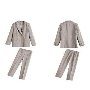 Femmes Costume Pièce Ensembles Casual Blazer Taille Haute Pantalon De Bureau Dame Notched Veste Pantalon Costumes Femme Set – Marron – XL