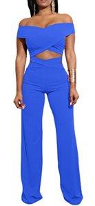 H&E Ensemble de pantalon moulant à épaules dénudées pour femme – Bleu – XS