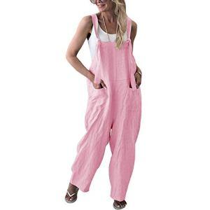 Heat-Tracing Mode Femmes Solide Salopette Salopette Printemps Casual sans Manches Pantalon – Rose – L