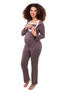 Herzmutter Pyjama Grossesse – Pyjama Allaitement – Vêtement de Nuit pour Femme Enceinte – Pyjama Ensemble Maternité – Dentelle – Bleu-Gris-Taupe – 2000 (L, Taupe)