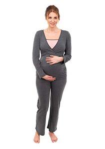 Herzmutter Pyjama Grossesse – Pyjama Maternité Allaitement – Vêtement de Nuit pour Femme Enceinte – Pyjama Ensemble Maternité – Design Bicolore – Bleu-Gris-Taupe – 2700 (L, Gris/Rose)