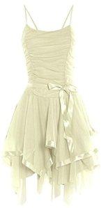 Likes Style Robe de soirée courte à bretelles pour femme Taille 38/38 – Ecru – 40