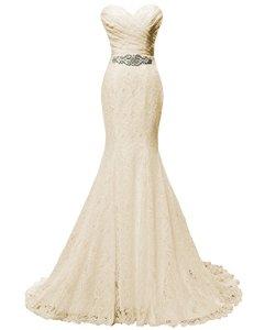 Solovedress Robe de mariée en Dentelle Femme Robe de soirée sirène Robe de mariée avec Ceinture (Europe 36, Champagne)