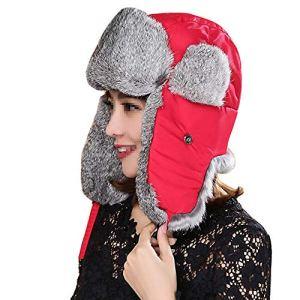 Unisexe Hiver Chapka Ear Flap Trappeur Bomber Casquettes Bonnets Chapeaux Garder Chaud Patinage Ski