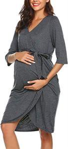 Vêtements de Nuit Grossesse et Allaitement Automne Chemises de Nuit Maternité Robe de Chambre Femme Enceinte Accouchement Pyjamas/XL