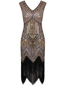 Vijiv Femme 1920 Gastby Art Nouveau Sequin Agrémentée frangée Dress XX-Large / uk20 / eu48 Glam Or