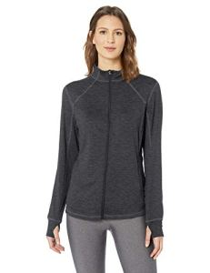 Amazon Essentials Brushed Tech Stretch Full-Zip Jacket sweaters, Black Space Dye, US S (EU S – M) S (EU S-M)
