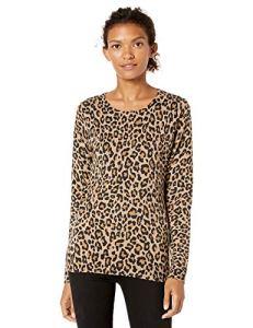 Amazon Essentials Lightweight Crewneck Sweater, Camel Heather Animal Print, L