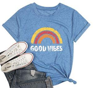 Good Vibes T-shirt pour les femmes Motif arc-en-ciel Imprimé Graphique Tees Manches Courtes Été Casual Tops Chemises – Bleu – Taille XL