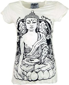 Guru-Boutique, T-Shirt de Méditation Bouddha Sure, Blanc, Size:S (38), T-Shirts Imprimés `Sura