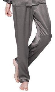 LILYSILK Bas de Pyjama en Pure Soie Femme Pantalon Fluide Soie de Mûrier Pantalon de Pyjama Long Vêtement de Nuit Soin de la Peau 22 Momme M Gris Foncé