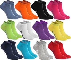 12 paires de chaussettes courtes de 12 couleurs faites dans l'UE, le coton de haute qualité certifié Oeko-Tex, plusieurs tailles: 36, 37, 38 by Rainbow Socks