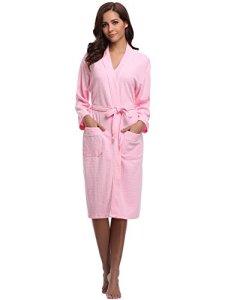 Aibrou Unisexe Kimono Tissage Gaufré Femme Peignoir de Bain femme homme 100% Coton Waffle Robe de Chambre col V Pyjama Pour l'hôtel Spa Sauna Vêtements de nuit(Rose M)