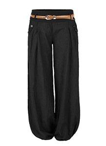 Aitos Femme Pantalon Fluide Culotte Bouffante Elastique Yoga Aladin Harem Pantalon Sarouel Avec Ceinture en Cuir Mode Casual Noir 40-42/L