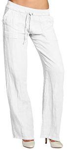 CASPAR KHS025 Pantalon en lin effet amincissant femme, Couleur:blanc;Taille:40 L UK12 US10