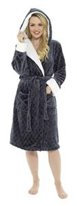 CityComfort Peignoir Femme | Robe de Chambre Femme Polaire Super Douce à Capuche | Peignoir de Bain Spa Épais Absorbant | Sortie de Bain | Idée Cadeau Femme Fille Ado (40/42, Charbon)