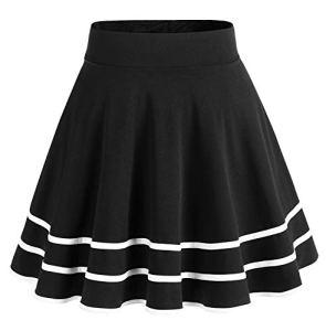 Dresstells jupe mini courte évasée en polyester, Black-White M