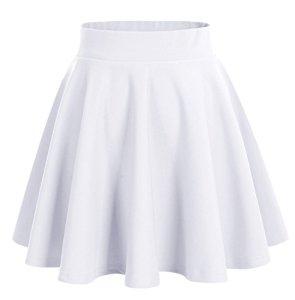 Dresstells jupe mini courte évasée en polyester, Blanc M