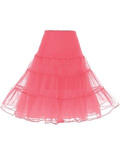 Dresstells Jupon années 50 vintage en tulle Rockabilly Petticoat longueur 66cm/26″,Coral XL