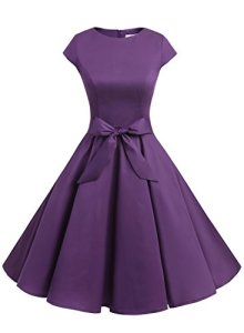 Dressystar DS1956 Robe à 'Audrey Hepburn' Classique Vintage 50's 60's Style à mancheron X-Large Pourpre