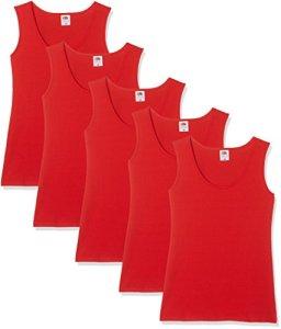 Fruit of the Loom Athletic Multipack, Débardeur Femme, Red, 40 (lot de 5)
