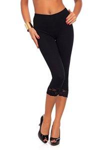 futuro fashion court 3/4 longueur Leggings coton avec dentelle tous coloris & TOUTES LES TAILLES – Noir, EU 48/50