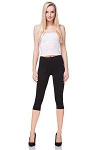 futuro fashion court Leggings coton classique 3/4 Pantalon haute qualitéété couleurs – Noir, EU 38