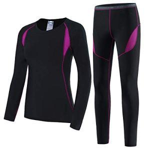 HAINES Ensemble de sous-Vêtements Thermiques Femme Base Layer sous-Vêtements Ski pour L'entraînement Randonnée Rose GR.42