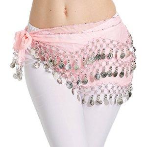 Hoter mousseline de soie pendent pièces d'argent ventre hanche foulard danse, le style de la mode – rose