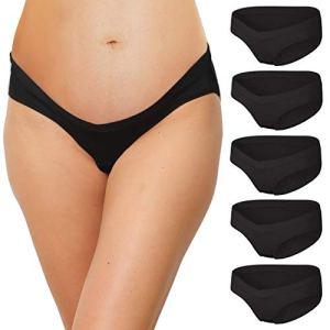 INNERSY Culotte Grossesse Maternité Noir Coton Slip Femme Sexy V-Forme Lot de 5 (36, 5 Noir)