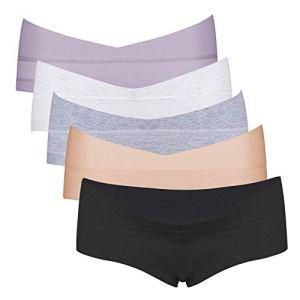 Intimate Portal Femme Petite Culottes Berceau de Maternité et Grossesse Boxer Slips sous Vetements en Coton 5 Lot Noir Gris Blanc Beige Violet L