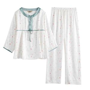 Lady soie deux ensembles de pyjamas l'automne et l'hiver pyjamas à manches longues printemps lâche soie service à domicile ( Color : Blanc , Size : XL )