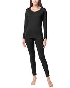 LAPASA Ensemble de sous-vêtement Thermique Femme Doublure Laine Polaire Chaud Épais Haut Bas L41/L44 – L41: Noir (Épais Intermédiaire) – 40/L