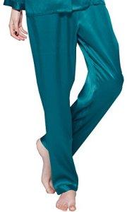 LILYSILK Bas de Pyjama en Pure Soie Femme Pantalon Fluide Soie de Mûrier Pantalon de Pyjama Long Vêtement de Nuit Soin de la Peau 22 Momme Small Bleu Royal