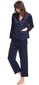 LILYSILK Ensemble de Pyjama en Soie pour Femme à Manches Longues 2 Pièces 22 Momme Liseré Contrastant S Bleu Marine