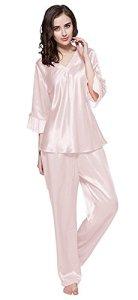LILYSILK Pyjama Femme en Soie Ensemble de Pyjama 2 Pièces à Manches 3/4 Col V Vêtement de Nuit Pantalon Fluide Taille Elastique 22 Momme M Rose Clair