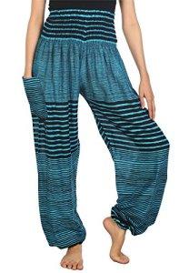 Lofbaz Boho Pantalons Femmes Taille Smockée Streak Harem Pants Bleu Clair M