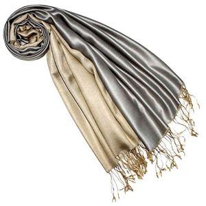 Lorenzo Cana Écharpe réversible pour femme 70 % soie, 30 % viscose, 70 x 190 cm Bicolore – Argenté – Taille unique