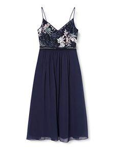 Marque Amazon – TRUTH & FABLE Robe Midi en Mousseline Femme, Bleu (Multi Spring Emb), 48, Label:3XL