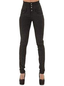 Minetom Femmes Taille Haute Skinny Denim Pantalon Collants Stretch Slim Fit Jeans Pantalons Crayon Pants Vintage Jeggings Noir EU M