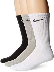 Nike Paire de chaussettes – lot de 3 – Mixte adulte – Gris/Noir/Blanc – L/42-46