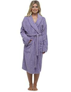 Robe De Dames Luxury Serviette Éponge 100% Coton Peignoir Robe De Chambre Perfect Cadeau Noël, Purple – Non Hooded, M
