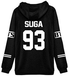 ShallGood Femme Automne Mode BTS Fans Sweats à Capuche à Manches Longues Varsity Rayé Encapuchonné Sweatshirt Décontractée Hooded Chemisiers Tops SUGA-93 Blanc FR 36