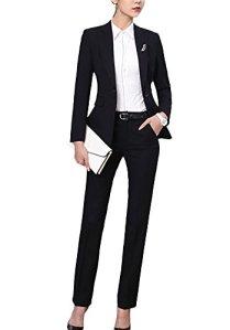 SK Studio Femmes Blazer Tailleurs Pantalons De Bureau 2 Pièces Revers Casual Costume Manteau Noir 36 étiquette L