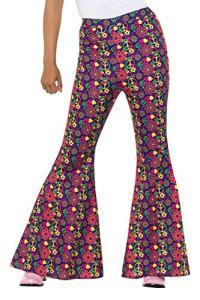 Smiffy's 47451s 60s psychédélique CND évasé Pantalon, femmes, femme, Multicolore, S (Taille 08–10