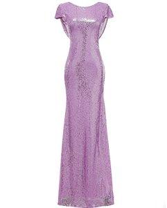 Solovedress Femmes sirène pailletée Robe Longue de soirée de Bal Sequin Robes de mariée (Europe44,lumière Pourpre)