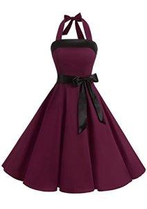 Timormode Robe Vintage Femme Robe Rockabilly Swing Grande Taille Robe Demoiselle d'Honneur Femme Courte pour le Bal de Fin d'Année Robe des fête Noel 10212Burgundy XS